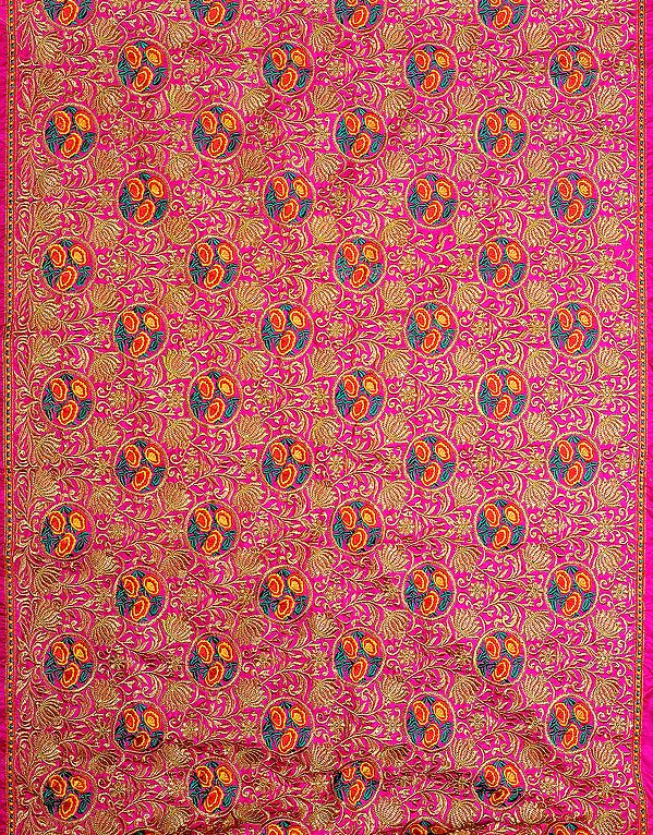 Costume Fabric with Embroidered Flowers