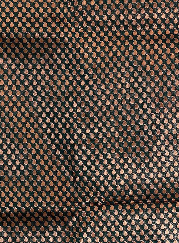 Dark-Green Banarasi Katan Georgette Fabric with Woven Paisleys in Copper Color Thread
