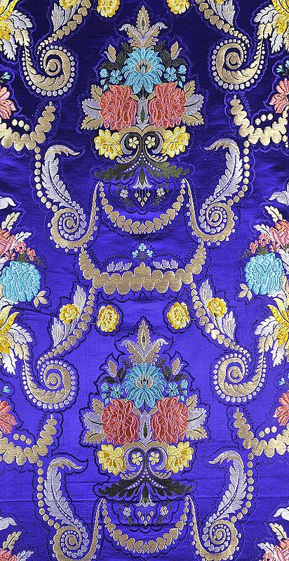 Deep-Blue Floral Brocade Fabric from Banaras with Golden Zari Weave