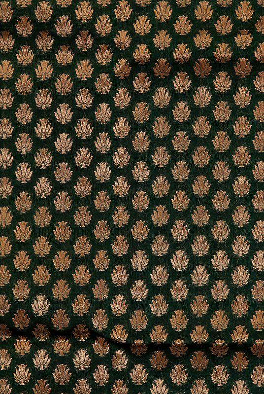 Green Banarasi Katan Georgette Fabric with Woven Lotuses