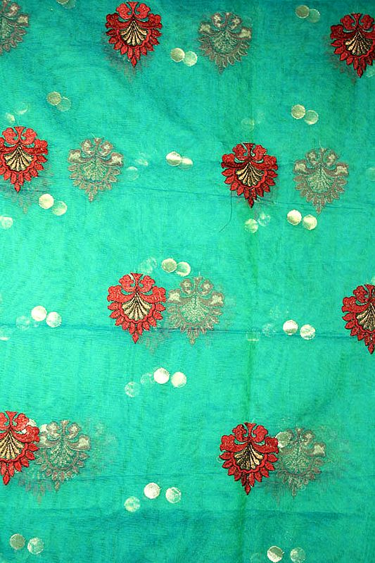 Green Net Hand-woven Fabric from Banaras with Large Embroidered Bootis