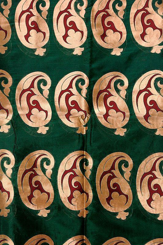 Greener-Pastures Banarasi Katan Georgette Fabric with Woven Large Paisleys in Golden Thread