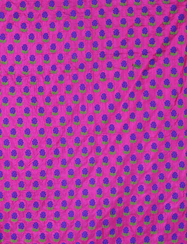 Hot-Pink Banarasi Katan Fabric with All-Over Woven Flowers
