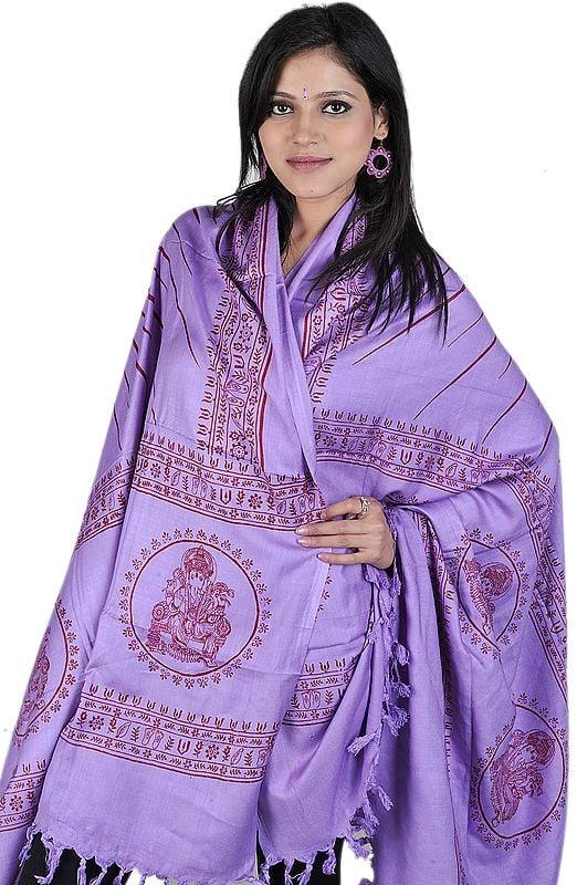 Lilac Sanatana Dharma Prayer Shawl of Lord Ganesha