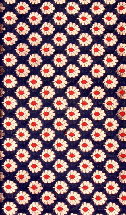 Navy-Blue Banarasi Katan Georgette Fabric with Small Woven Flowers