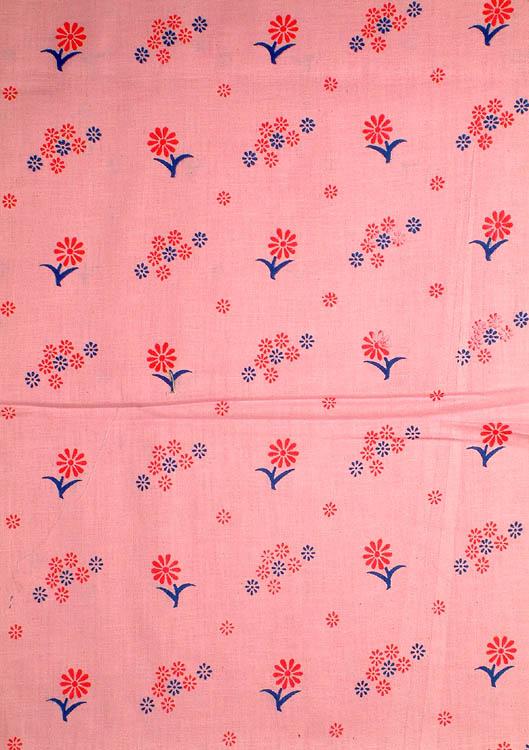 Pink Block-Printed Floral Khadi Fabric