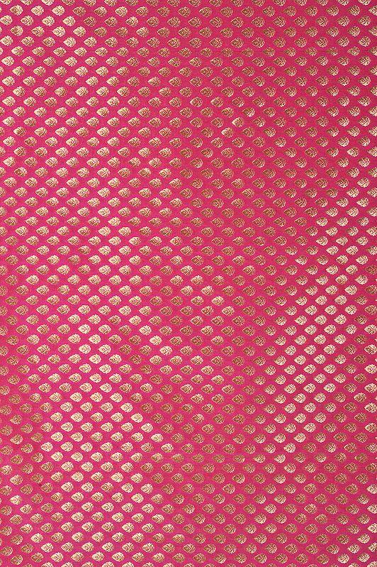 Pink Brocade Dodama Fabric from Banaras with Woven Bootis in Golden Thread