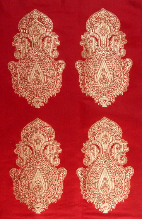 Red Banarasi Hand-woven Brocade Fabric with Auspicious Motif