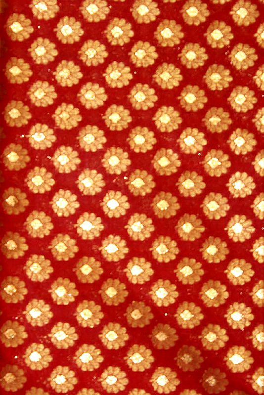 Red Fabric from Banaras with All-Over Flowers Woven All-Over