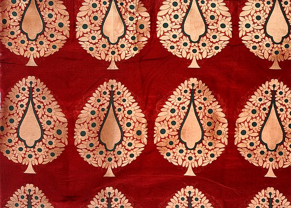 Red-Ochre Banarasi Katan Georgette Fabric with Hand-woven Trees in Golden Thread
