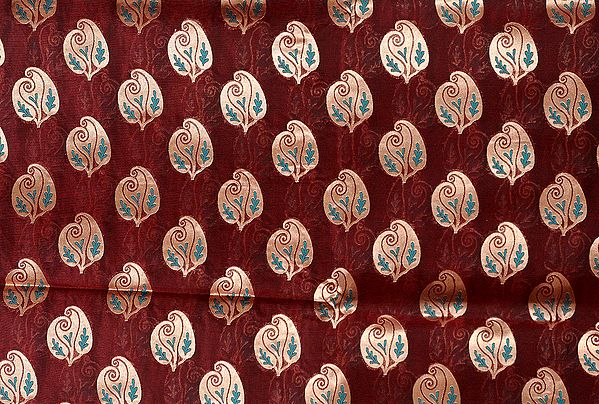 Russet-Brown Banarasi Katan Georgette Fabric with Woven Stylized Paisleys