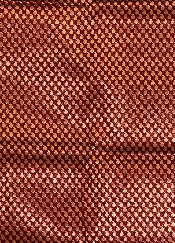 Rust Banarasi Katan Georgette Fabric with Woven Paisleys in Copper Color Thread
