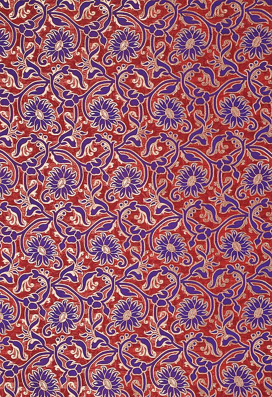 Flame Scarlet-Red Katan Fabric from Banaras with Woven Flowers in Blue and Gold
