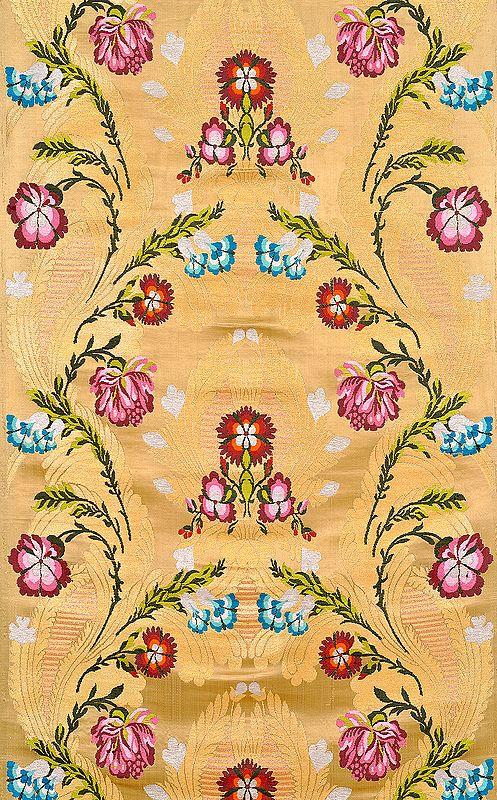 Golden Tibetan Floral Brocade