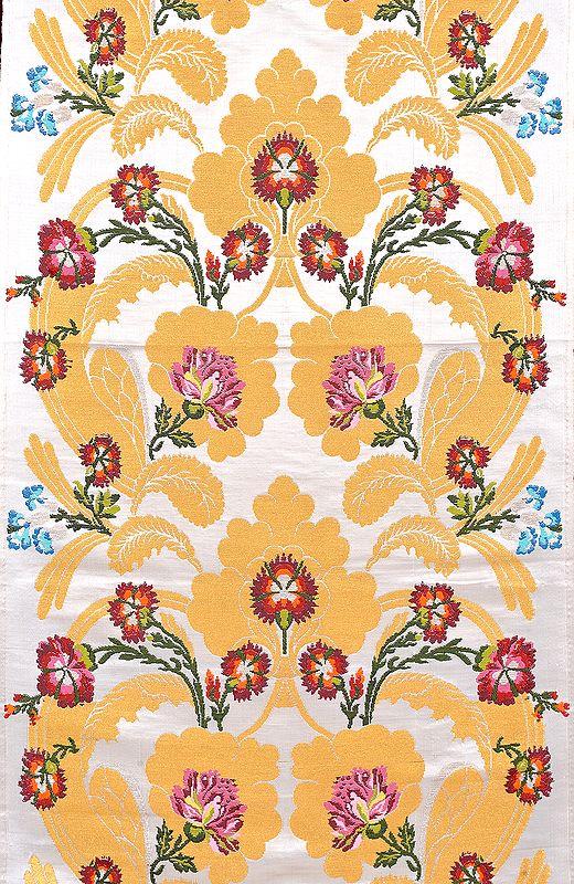 Ivory and Golden Tibetan Handloom Floral Brocade
