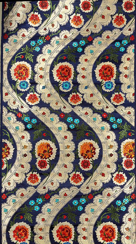 Royal-Blue Brocade Fabric with Five Woven Flowers