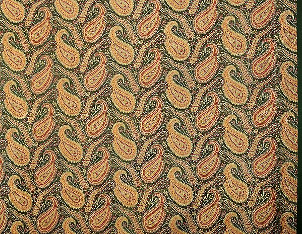 Black Fabric from Banaras with Paisleys Woven in Golden Thread
