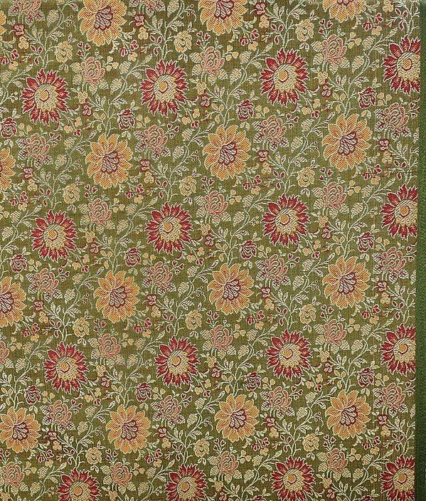Olive Green Banarasi Brocade Fabric with Woven Flowers