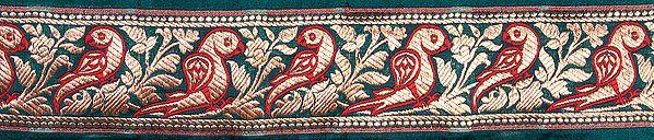 Green Banarasi Fabric Border with Woven Parrots in Golden Thread
