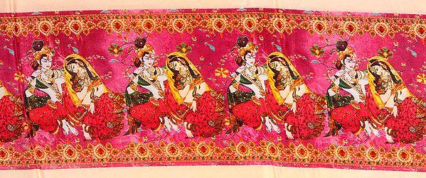 Fabric Border with Digital-Printed Radha Krishna