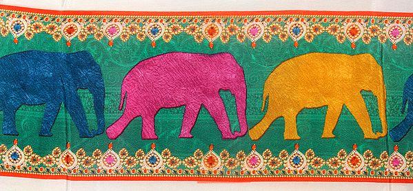 Fabric Border with Digital-Printed Elephants