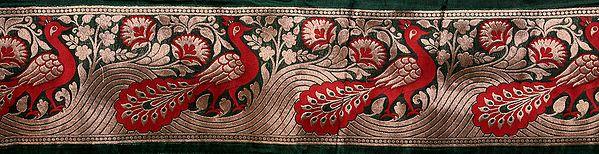 Banarasi Fabric Border with Woven Peacocks in Golden Thread