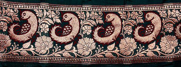 Green Banarasi Fabric Border with Woven Birds in Golden Thread