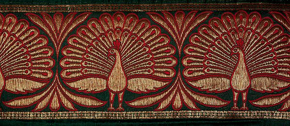 Banarasi Fabric Border with Woven Peacocks