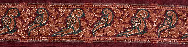Maroon Banarasi Fabric Border with Woven Parrots in Golden Thread