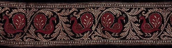 Black Banarasi Fabric Border with Woven Peacocks