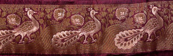 Purple Banarasi Fabric Border with Hand-woven Peacocks in Olive and Copper