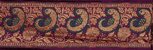 Purple Banarasi Fabric Border with Woven Birds
