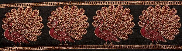 Black Banarasi Fabric Border with Hand-woven Peacocks in Red and Gold