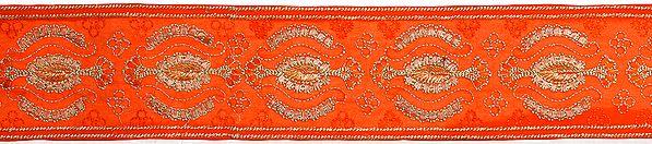 Orange Crewel Embroidered Fabric Border with Metallic Thread