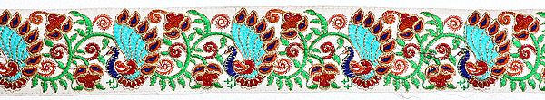 White Fabric Border with Embroidered Peacocks