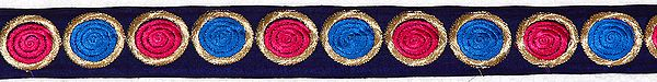 Navy-Blue Narrow Border with Embroidered Spirals