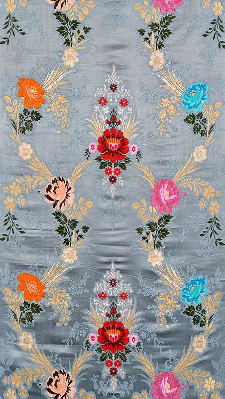 Gray Brocade Fabric with Woven Roses by Hand