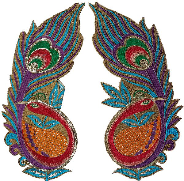 Pair of Multi-Color Embroidered Giant Peacock Patches with Sequins