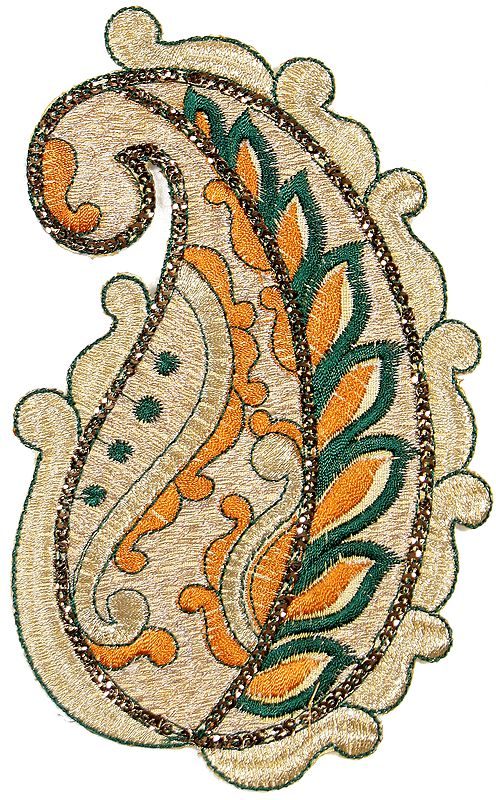 Almond Paisley Patch with Sequins and Cutwork