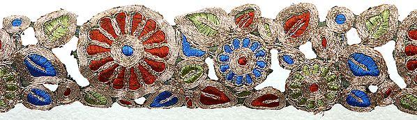 Zardozi Cutwork Border with Metallic Thread Embroidery