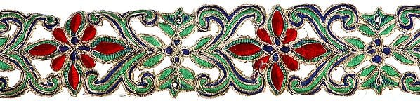 Floral Cutwork Border with Metallic Thread Embroidery