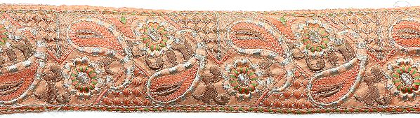 Peach Border with Embroidered Paisleys and Flowers