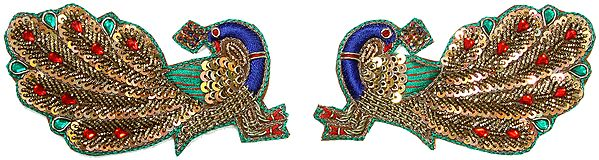 Pair of Multi-Color Embroidered Peacocks with Sequins and Beads