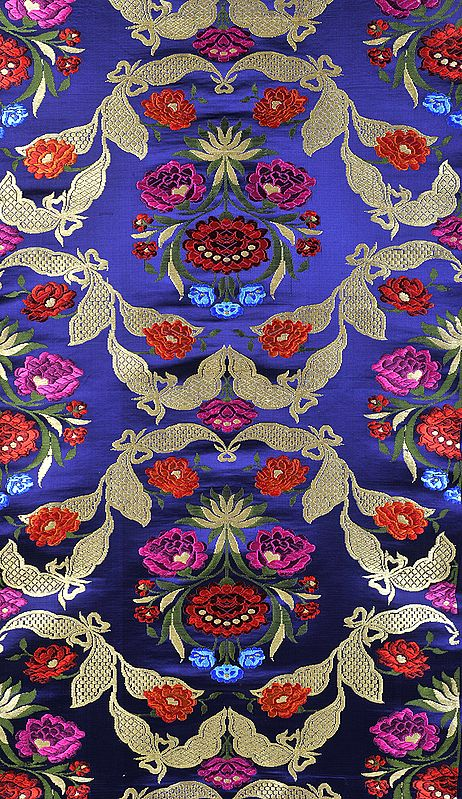 Navy-Blue Brocade Fabric with Woven Flowers and Leaves