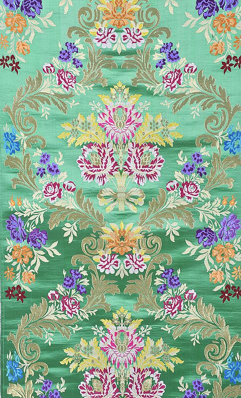 Emerald-Green Brocade Fabric with Woven Flowers and Zari Thread