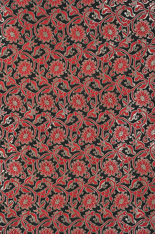 Dark-Green Katan Fabric from Banaras with Woven Flowers in Red and Gold