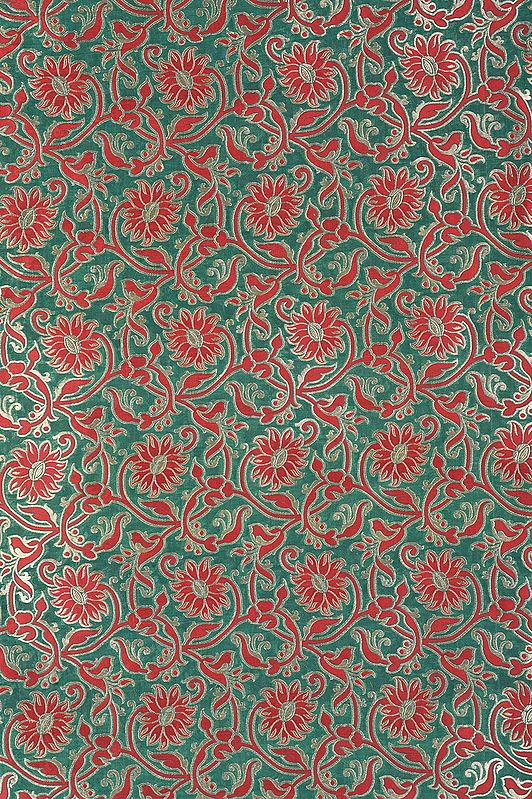 Islamic-Green Katan Fabric from Banaras with Woven Red and Golden Flowers
