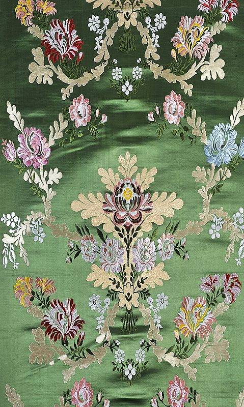 Medium-Green Tibetan Lotus Brocade Fabric from Banaras