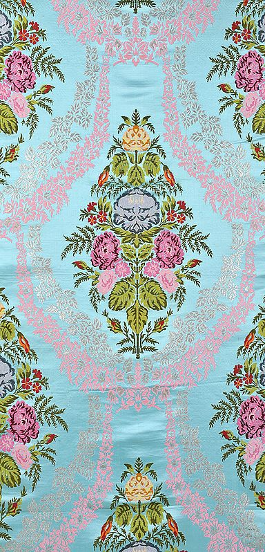 Sky-Blue Gyasar Brocade from Banaras with Woven Flowers