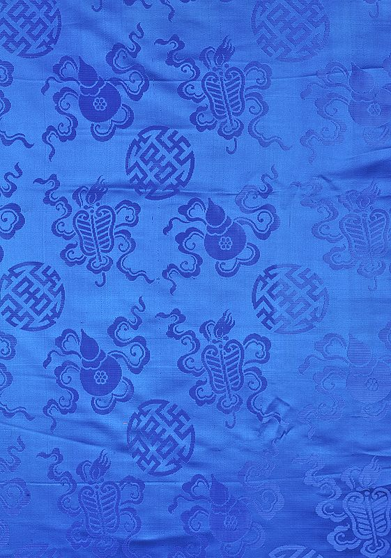 Regatta-Blue Fabric from Banaras with the Eight Symbols of Good Fortune (Tib. Bkra-shis rtags-brgyad, Skt. Ashtamangala)
